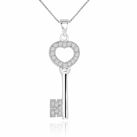 Heart Flower Key Necklace in Sterling Silver & 14K Gold, 18 inch - Free Shipping | ShoppingBadger.com