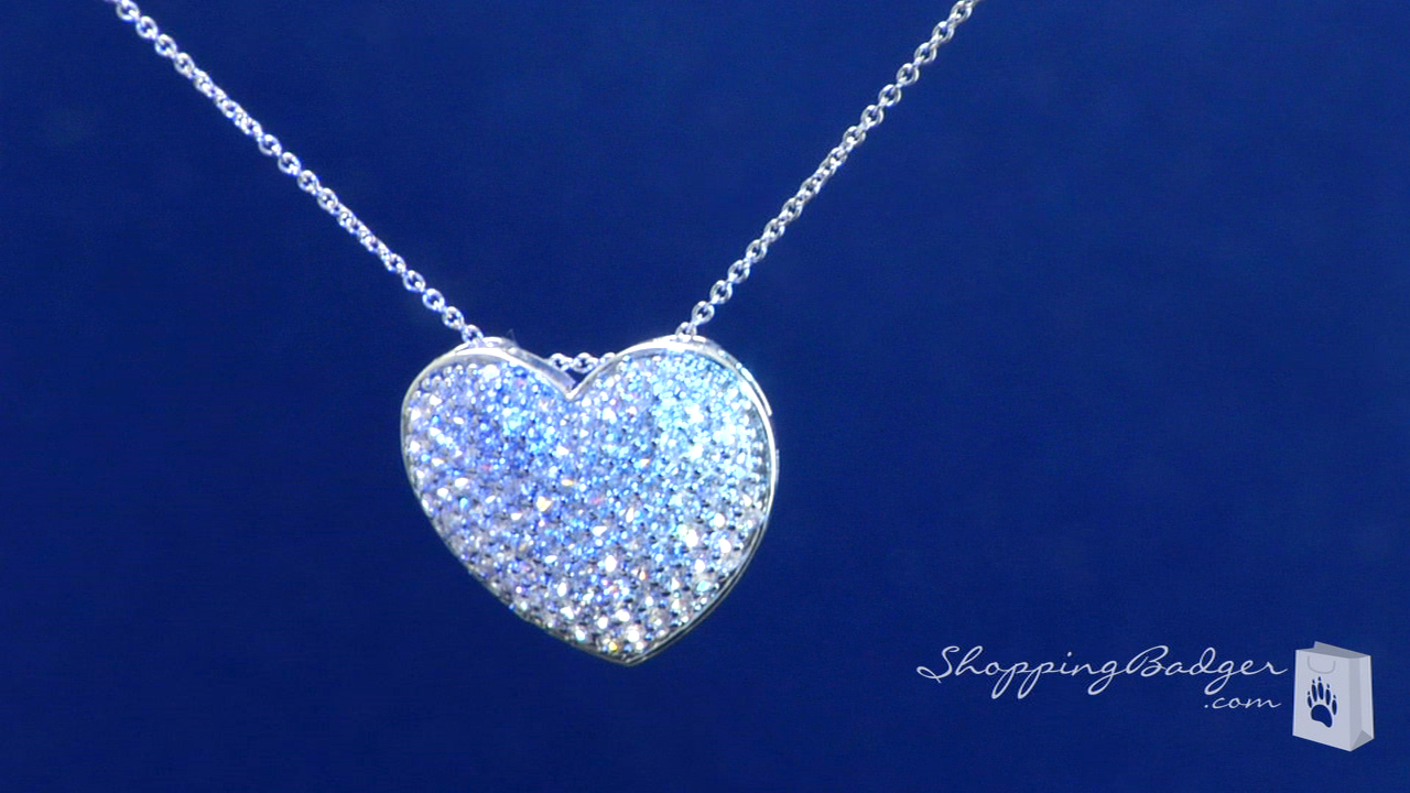 Large Pave Cubic Zirconia Heart Pendant Necklace In