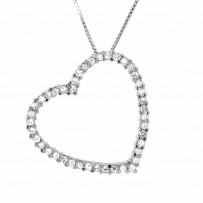 Large Pave CZ Open Heart Necklace in Sterling Silver, 16