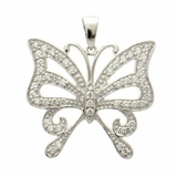 Large Silver CZ Butterfly Necklace