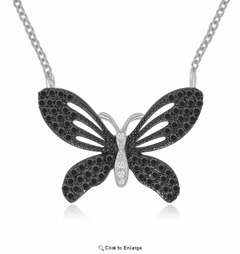 "Large Vintage Style CZ Butterfly Necklace in Sterling Silver, Adjustable 16""-18"""