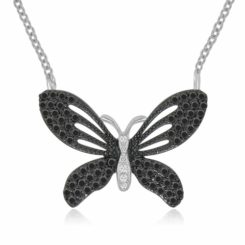 Vintage Style CZ Butterfly Necklace in Sterling Silver, Adjustable 16