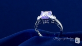 Lavender & Diamond CZ Engagement Ring in Sterling Silver, Sizes 6-9