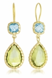 Lemon Quartz And Blue Topaz Drop Earrings in Sterling Silver