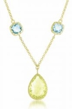 Lemon Quartz and Blue Topaz Sterling Silver Necklace, 16""