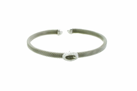 Mesh Silver Bangle with CZ Buckle