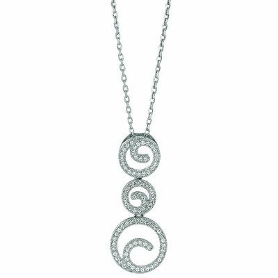 Micro Pave CZ Circle Swirl Necklace in Sterling Silver, 16