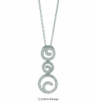 Micro Pave CZ Swirl Necklace in Sterling Silver, 16""