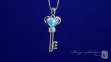 "Millefiori Murano Glass Blue Heart Key Necklace with CZs in Sterling Silver, 18"" or 20"""