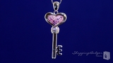"Millefiori Murano Glass Pink Heart Key Necklace with CZs in Sterling Silver, 18"" or 20"""