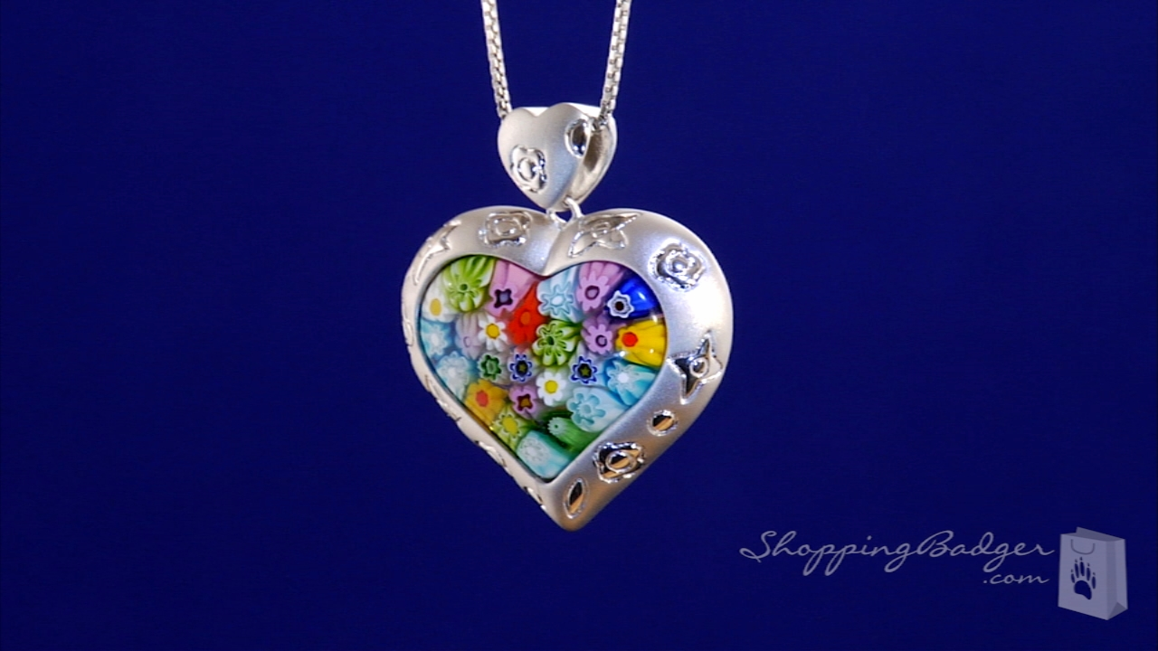 Millefiori Satin Finish Murano Glass Heart Necklace In