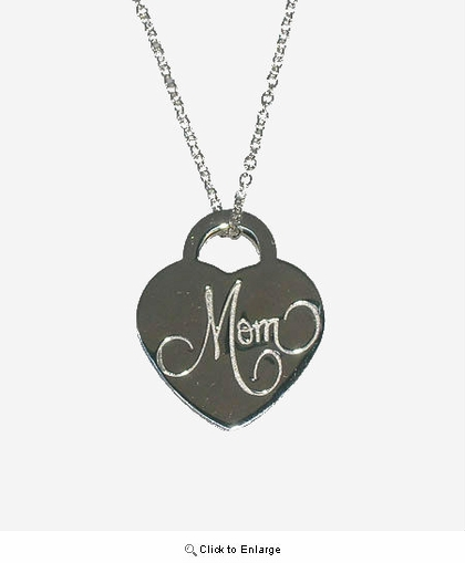 Mom's Silver Heart Lock Pendant Necklace
