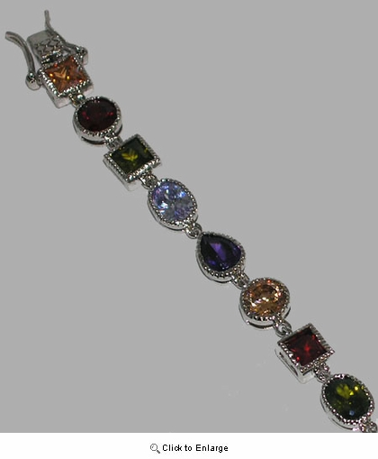 Multi-Color CZ Bracelet in Sterling Silver, 7.25""