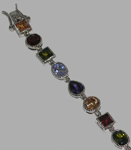 Multi-Color CZ Bracelet in Sterling Silver, 7.25