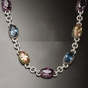 Multi-color Oval CZ 16 inch Necklace