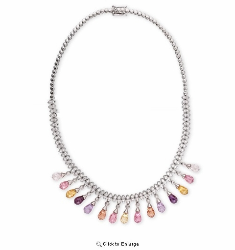 Multi-colored Briolette Dangling Necklace, 16""