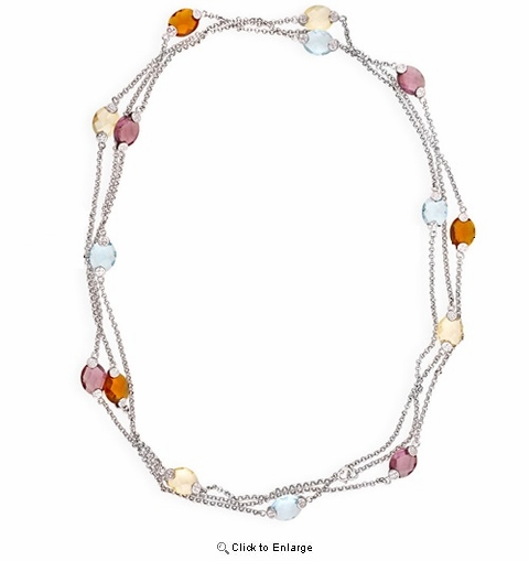 Multi-colored Flat Glass Beaded Diamond by the Yard Necklace, 16""