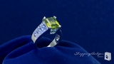 Olive & Diamond CZ Ring in Sterling Silver, Sizes 6-9