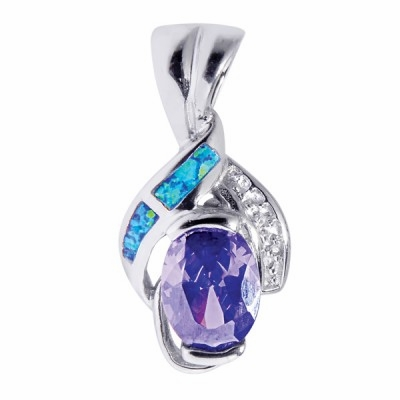 opal amethyst and cz silver pendant necklace