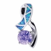Opal and Amethyst Silver Bow Pendant Necklace