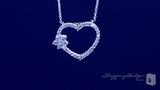 "Open Heart with Flower CZ Pendant Set in Sterling Silver, Adjustable 16""-18"""