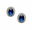 Oval Cut Blue Zirconia Earrings