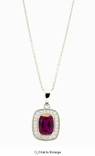 Oval Cut Red Zirconia Silver Pendant
