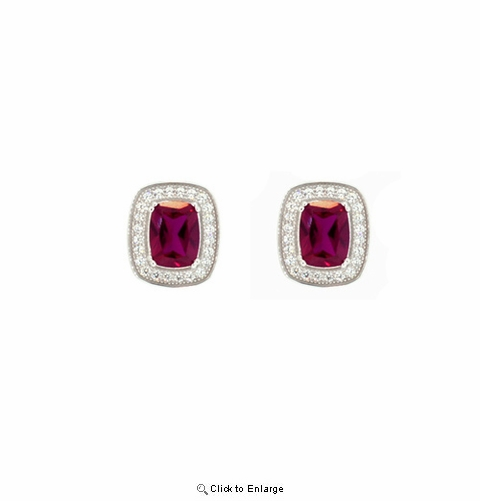 Oval Cut Red Zirconia Silver Stud Earrings