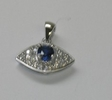 Pave CZ and Blue Zirconia Silver Pendant Necklace