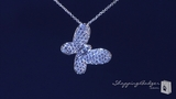 "Pave CZ Butterfly Necklace in Sterling Silver, Adjustable 16""-18"""