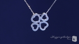 """Pave CZ Four Leaf Open Heart Clover Necklace in Sterling Silver, 16"""""""