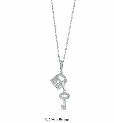 "Pave CZ Lock & Key Necklace in Sterling Silver, Adjustable 16""-18"""