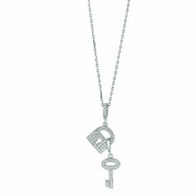 Pave CZ Lock & Key Necklace in Sterling Silver, Adjustable 16