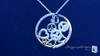 "Pave CZ Multi-heart & Peace Sign Circle of Life Necklace in Sterling Silver, Adjustable 16""-18"""