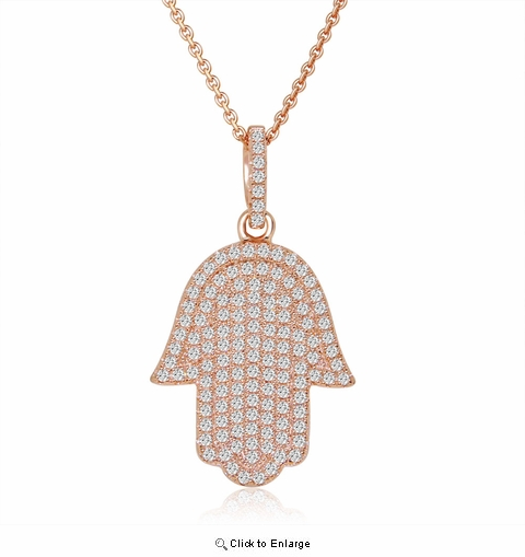 Pave CZ Rose Gold Hamsa Pendant Necklace in Sterling Silver, 16""