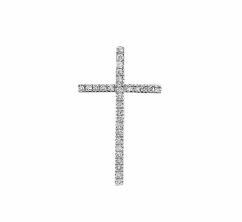 Pave CZ Tall Thin Cross Necklace in Sterling Silver - Free Shipping|ShoppingBadger.com