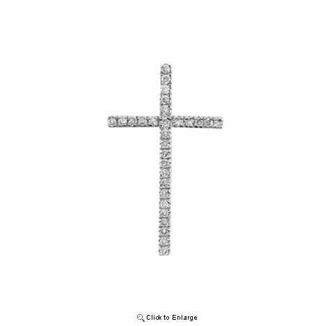 "Pave CZ Tall Thin Cross Necklace in Sterling Silver, Adjustable 16""-18"""
