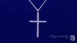 "Pave CZ Thin Cross Necklace in Sterling Silver, Adjustable 16""-18"""
