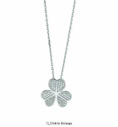 Pave CZ Three Leaf Heart Clover Necklace in Sterling Silver, 16""