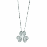 """Pave CZ Three Leaf Heart Clover Necklace in Sterling Silver, 16"""""""