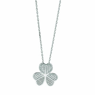 Pave CZ Three Leaf Heart Clover Necklace in Sterling Silver, 16