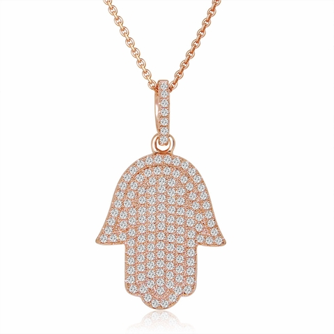 Pave CZ Rose Gold Hamsa Pendant Necklace in Sterling Silver, 16 inch - Free Shipping | ShoppingBadger.com
