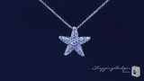 "Petite CZ Starfish Necklace in Sterling Silver, Adjustable 16""-18"""