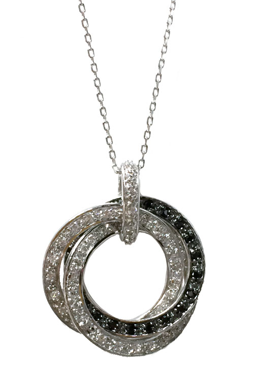 Petite diamond cz double circle of love pendant necklace in sterling sterling silver cz circle of love pendant necklace aloadofball Images