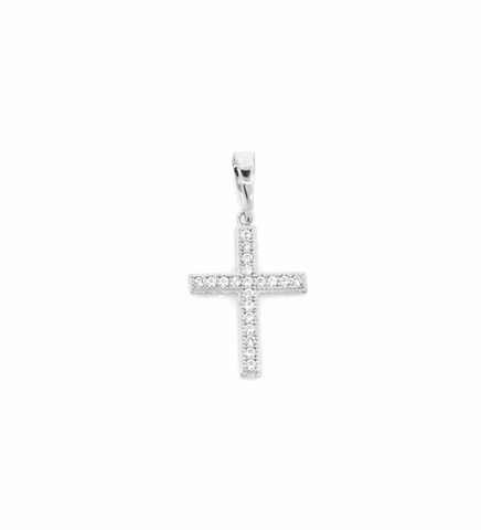 Petite Pave CZ Cross Necklace in Sterling Silver, Adjustable 16