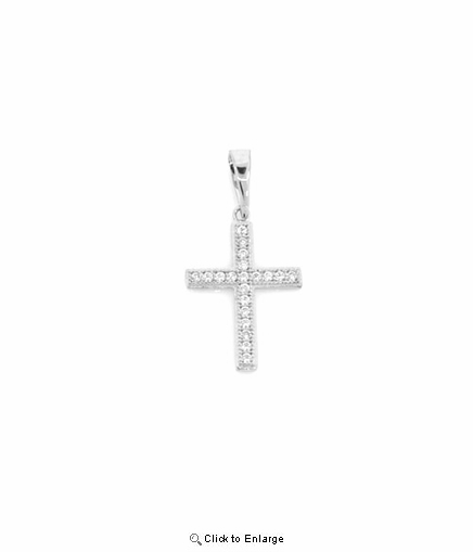 "Petite Pave CZ Cross Necklace in Sterling Silver, Adjustable 16""-18"""
