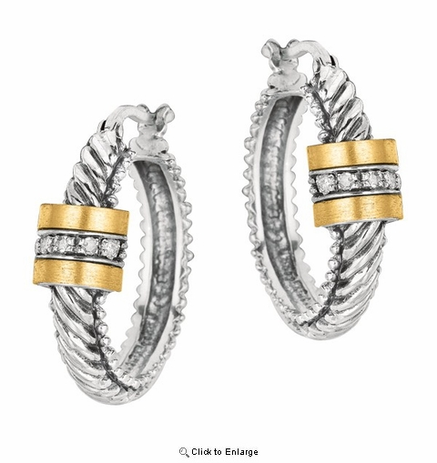 Phillip Gavriel Gold and Sterling Silver Oval Twisted Hoop with Barrel Diamond Center