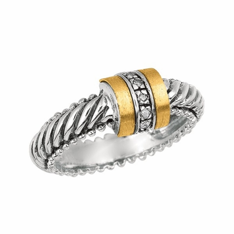 Phillip Gavriel Gold and Sterling Silver Ring with Twisted Patterned Shank and Diamond Barrel Center