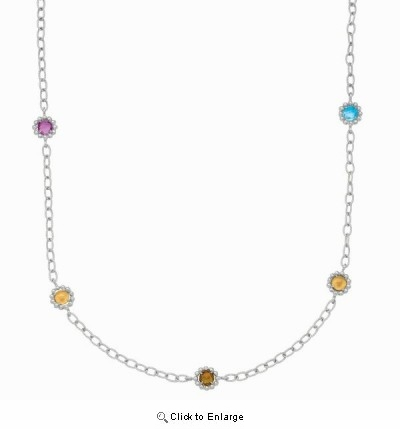 Phillip Gavriel Multi Gem Gold and Silver Necklace, 17""