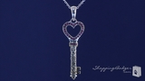 Phillip Gavriel Open Heart Key with Genuine Rubies in Sterling Silver, 18""
